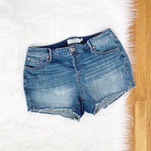 Torrid   Frayed Hem Denim Cut Off Shorts